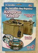 NIB KANGAROO KEEPER Set of 2 Tan Purse Handbag Organizer 1 Regular, 1 Large