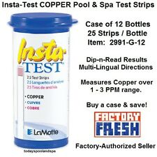 Insta-TEST COPPER Pool & Spa Test Strips, 2991-G-12, pkg of 25 strips - cs of 12