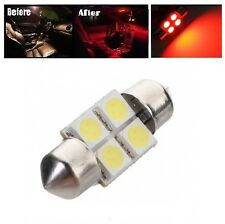 "2 x Hot Red 31mm LED 6428 3175 4-SMD 1.25"" Dome Map Festoon Interior Light Bulbs"