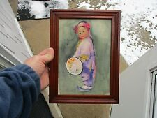 Antique Vintage Framed Watercolor of Young Chinese Girl in Maple Frame