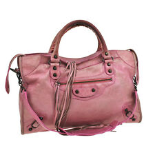 Auth BALENCIAGA THE CITY Editor's 2way Hand Bag Pink Leather Vintage V05915