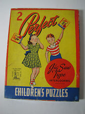 Vintage 2 Pefect Puzzles for Children Jig Saw Girl with Puppy and Soap Box Car