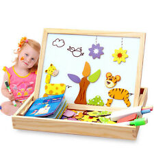 Kids Wooden Drawing Writing Board Magnetic Puzzle Jigsaws Double Easel Learn Toy