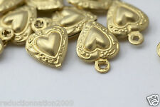 Vintage Style Raw Brass Etched Heart Charms Pendants 12mm (20)