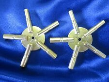2 Universal Brass Clock Winding Keys - Odd & Even Sizes 5 Prong Star Made in USA