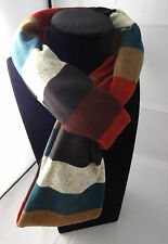 Infinity scarf rugby stripes orange brown green loop c