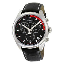 Tissot PR100 Chronograph Black Dial Black Leather Mens Watch T1014171605100