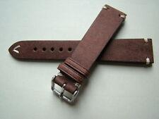 Cinturino vintage in cuoio grezzo cuciture ecrù ansa 20mm band strap Dark Brown