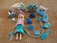 "Polly Pocket Lot ""Colors of the Rainbow"" Doll Blue Pets Cat Dog Accessory L38"