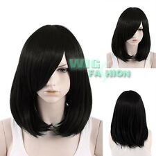 "16"" Heat Resistant Medium Straight Black Cosplay Hair Wig"