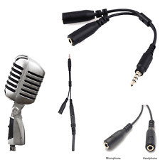 3.5mm Stereo Audio Male to 2 Female Headset Mic Y Splitter Cable Adapter