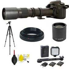 TELEPHOTO ZOOM LENS 500-1000MM + TRIPOD + LED LIGHT FOR CANON REBEL T3 T3I T4