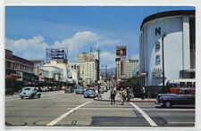Vine Street from Sunset Boulevard Cars Hollywood California 1950s postcard