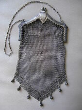 Antique Art Nouveau Deco Floral Crest Silver T Frame Ball Tassel Mesh Purse #22