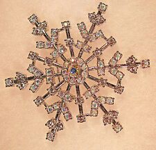"""KIRKS FOLLY RARE/RETIRED/SIGNED """"ALL RHINESTONES SNOWFLAKE BROOCH"""" GORGEOUS-A.B."""