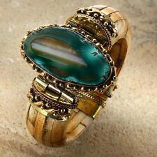 New Tara Mesa Teal Banded Agate & Bone Bangle Bracelet