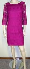 Jessica Howard NWT Size 12 Fuschia Crochet Lace Overlay Sheath Dress 7024