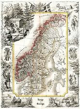 MAP ANTIQUE MUNCH 1847 NORWAY SWEDEN HISTORIC LARGE REPLICA POSTER PRINT PAM1146