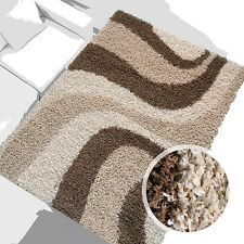 % bon marché Tapis Shaggy À Poils Longs Salon Vagues Beige Marron 120x170 cm