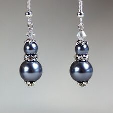 Dark grey pearls crystal vintage silver drop earrings wedding bridesmaid gift