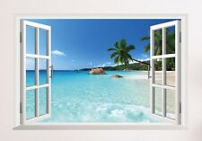 Large 3D window Hawaii beach Palm tree Ocean View adhesive Wall sticker decals