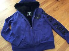 Victoria's secret pink Purple bling Sweatshirt fur lined hoodie jacket VS Medium
