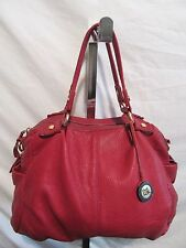 The Sak Medium Sized Red Pebbled Leather Bowler Style Satchel/Tote Handbag