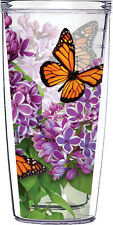 Monarch Butterfly & Flower Tumbler 16oz Traveler Cup with lid and straw -Acrylic
