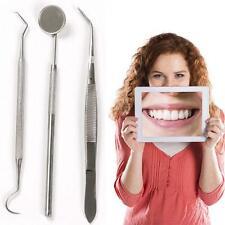 3x Dentiste Dents Propres Hygiène Picks Miroir Outil Dentaires Inoxydable Set EH