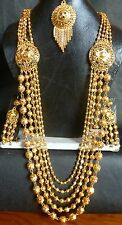 22K Gold Plated Indian Wedding 11'' Long Rani Haar Pakistani Necklace Earrings10