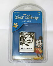 DISNEY MICKEY MOUSE RETRO MINI USB HUB SILVER AND BLACK MICKEY DESIGN LOGO