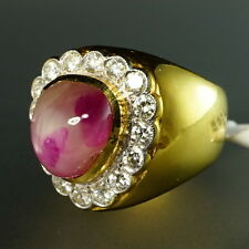 18K Yellow Gold Large Diamond Halo Pear Ruby Cabochon Vintage Cocktail Ring
