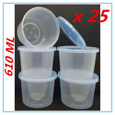 25 X PLASTIC TAKE AWAY ROUND FOOD SAFE CONTAINER CONTAINERS 610ML BPA FREE AP