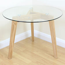 Solid Oak & Clear Glass Modern Round Side End Table Coffee/Lamp Stand Wood Base