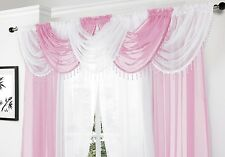 Beaded swags and voile panels set white & pink, lots of colours now avaliable