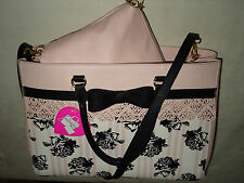 BETSEY JOHNSON LACEY BAG IN BAG BOW BLK/PINK ROSES TOTE CROSSBODY PURSE NWT WOW!