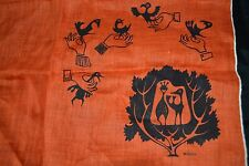 WILCKE H. SMITH Vtg 60's Orange Cloth Handkerchief Birds MCM Mid-Century RARE!