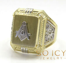 5 Grams 10k Yellow Real Gold Mens Free Mason Masonic G Hip Hop Ring