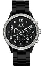 **NEW** LADIES ARMANI EXCHANGE AX BLACK CRYSTAL RESIN WATCH - AX5104 - RRP £199