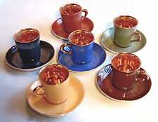 Figgjo Flint Norway Espresso Demitasse Cups/Saucers Gold-lined, Multicolor 12pc