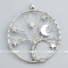 1Pc Silvery Alloy Star Moon Tree Of Life Wire Wrap Pendant Charm for Necklace