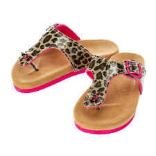 Girls Claire's Club Leopard Sandals Patent Faux Leather Hot Pink Size 11/12