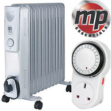 NEW Daewoo 2500W Oil Filled Radiator Heater with Thermostat & 24H Timer - White