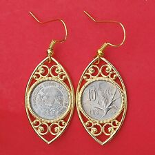 1978 Mexico 10 Centavos Coins Gold Plated Earrings NEW