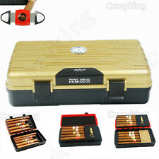 Cohiba Golden Double-Deck Multifunction Travel Cigar Humidor Humidifier W Cutter