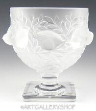 Lalique France Crystal ELIZABETH FOOTED VASE BOWL COMPOTE BIRDS SPARROW