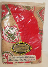 """NOS Vintage American Hostess Table Cloth Flannel Back Wipe Clean 60"""" Round"""