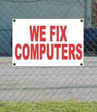 2x3 WE FIX COMPUTERS Red & White Banner Sign NEW Discount Size & Price FREE SHIP
