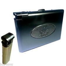 Zigarettenetui Metall mit Feuerzeug Blatt Tabak Zigaretten Schachtel Box Case