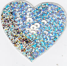 """HEART, SILVER SEQUIN (MED - 1 1/2"""" X 1 3/4) Iron On Sequined Patch/ Valentine"""